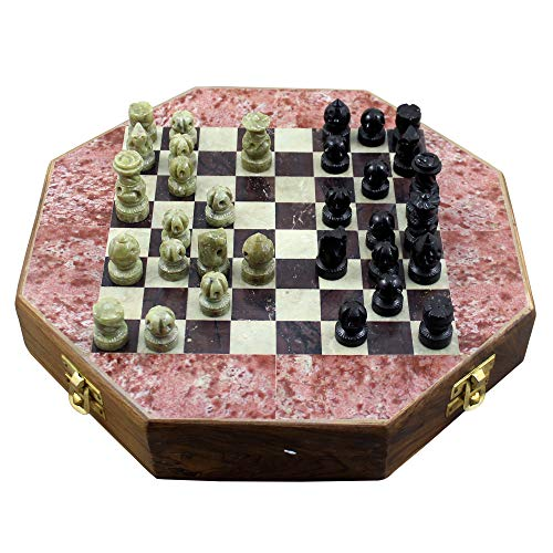 (RoyaltyRoute Octangle Shape Marble Stone Chess Pieces and Board Game Set 8 x 8 Inches - Christmas Gifts for Boys Girls Kids, Adults & Children )