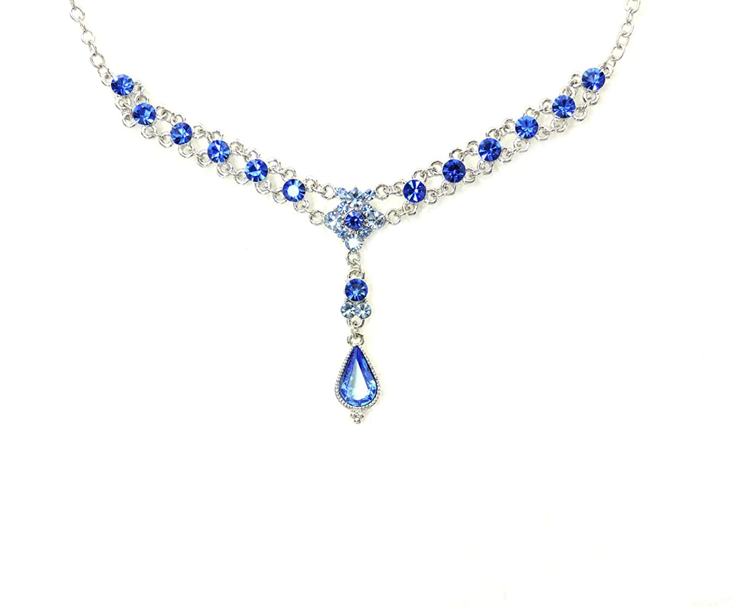 Faship Necklace Earrings Set Teardrop Floral Emerald Sapphire Blue Crystal