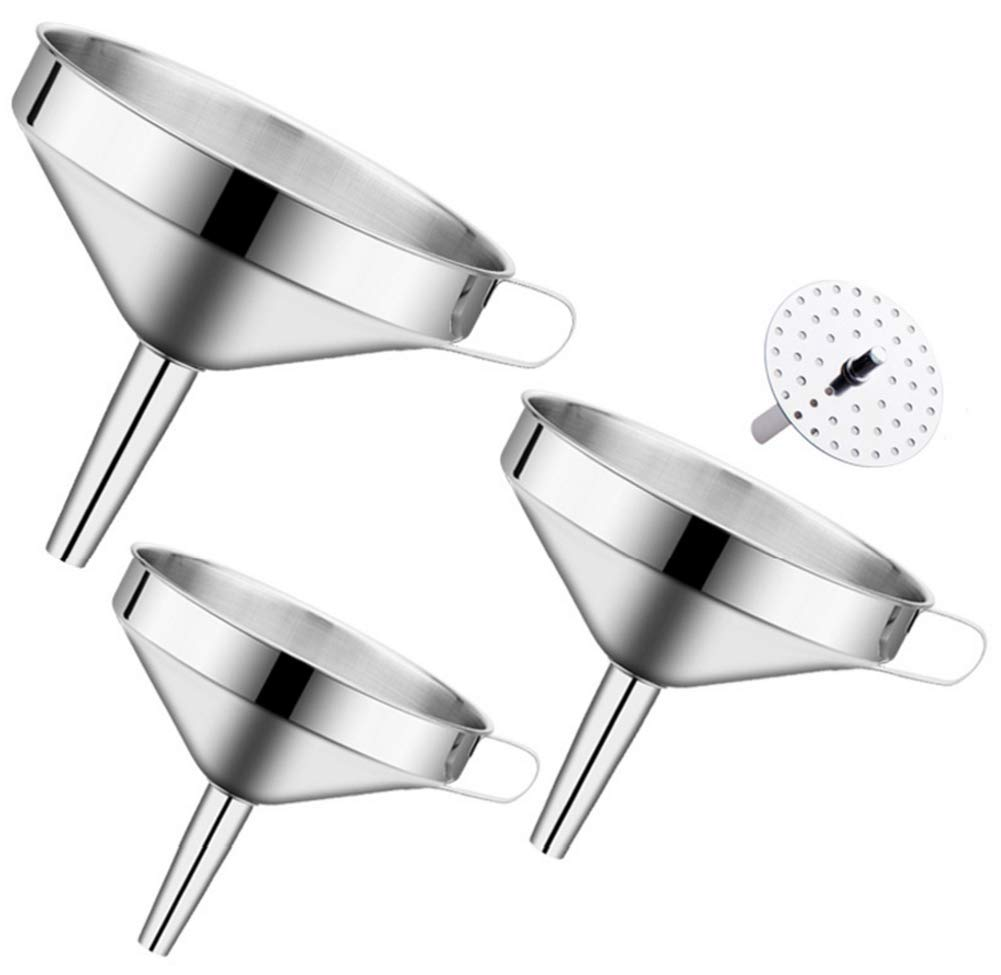 Chytaii Funnel with Filter Stainless Steel Funnel with Removable Strainer L