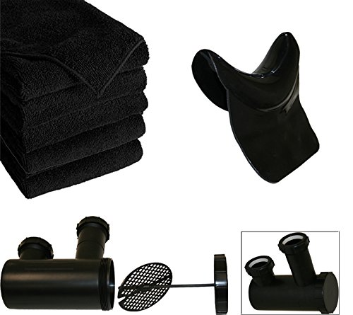 LCL Beauty Black Adjustable ABS Shampoo Bowl Backwash Station with Triple Certified Vacuum Breaker 6 Microfiber Towels by LCL Beauty (Image #3)