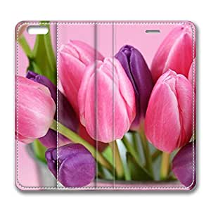 iPhone 6 Plus Case, Fashion Protective PU Leather Flip Case [Stand Feature] Cover Pink And Purple Tulips for New Apple iPhone 6(5.5 inch) Plus