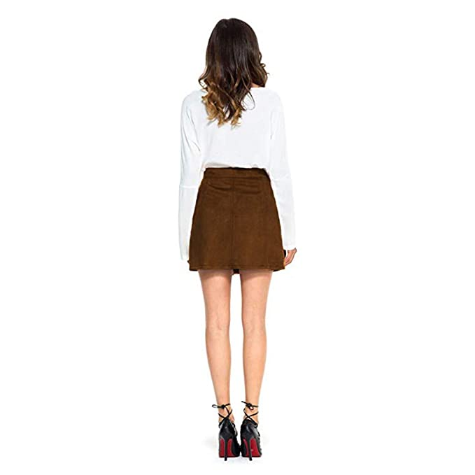 86cadfe7c Women Button Mini Skirt Female Vintage Solid Color Suede High Waist Plain A-Line  Ladies Short Skirts New 2019 at Amazon Women's Clothing store:
