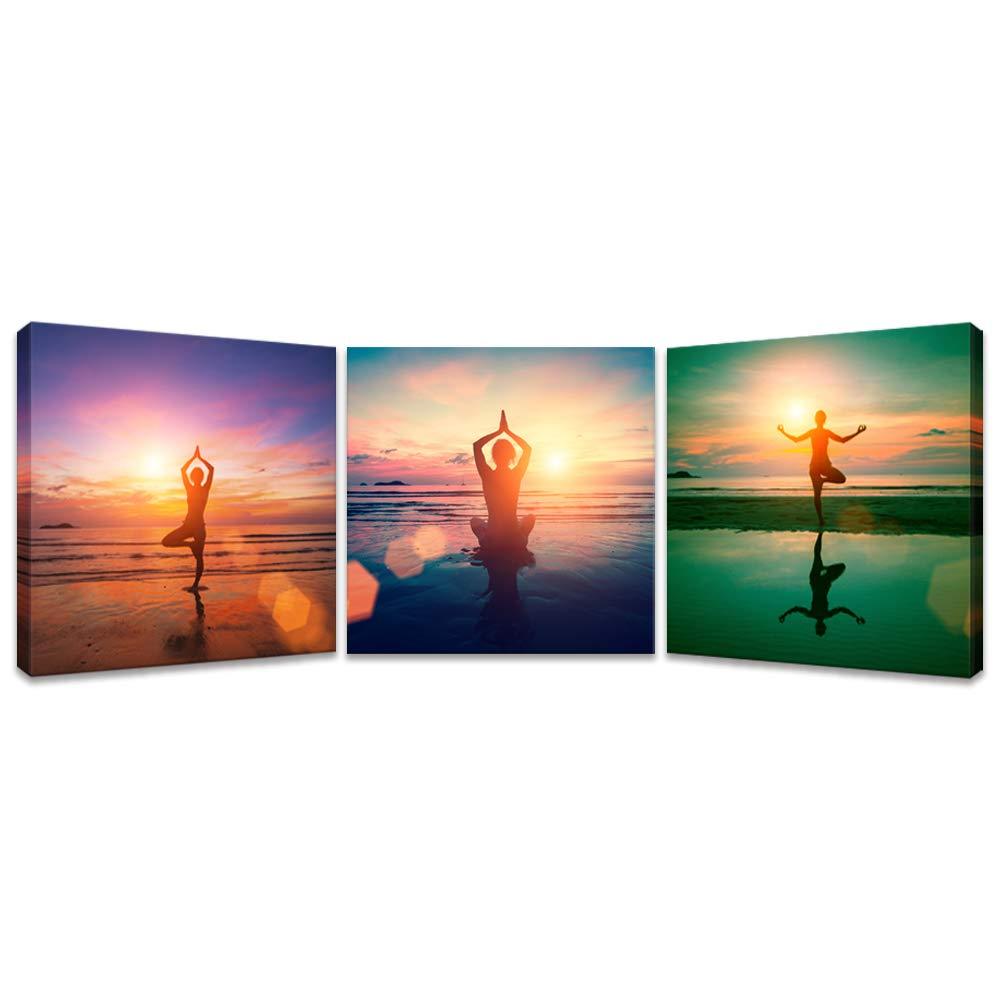 iKNOW FOTO キャンバスプリント 3ピース 若い女性 ビーチでのヨガの練習 夕暮れ時の夕暮れ時 水辺の反射 絵画 キャンバスに描かれた絵 ホームデコレーション   B07MHV7H3T