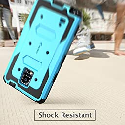 Galaxy Note 4 Case, i-Blason Armorbox Dual Layer Hybrid Full-body Protective Case For Samsung Galaxy Note 4 [SM-N910S / SM-N910C] with Front Cover and Built-in Screen Protector / Impact Resistant Bumpers (Blue)