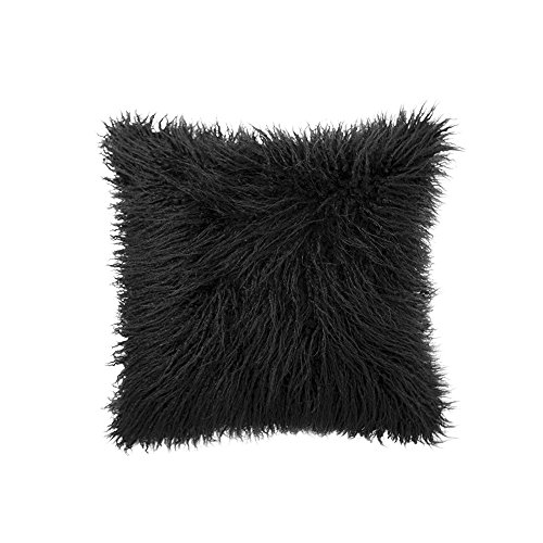 OJIA Deluxe Home Decorative Super Soft Plush Mongolian Faux Fur Throw Pillow Cover Cushion Case (18 x 18 Inch, Black) (Black Throw Pillows)