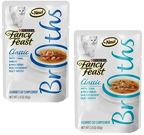 Fancy Feast Broth for Cats Classic Tuna, Shrimp & Whitefish and Classic Tuna & Vegetables, 1.4 Oz Pouch, Pack of 24 by Fancy Feast