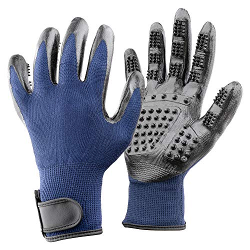 Elitthaus Pet Grooming Gloves - Five Finger Design - Great Hair Remover for Dogs, Cats and Horses - Left and Right