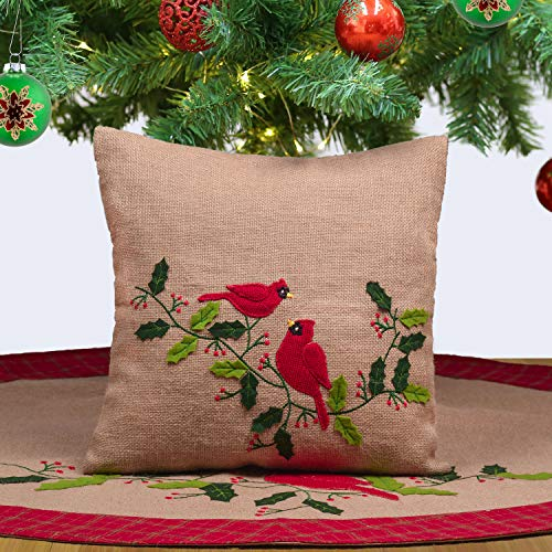 Teresas Collection Traditional Red Green Gold Burlap Christmas Pillow Covers with Birds and Holly Leaves, 16x16 Inch, Themed with Christmas Tree Skirt (Not Included)