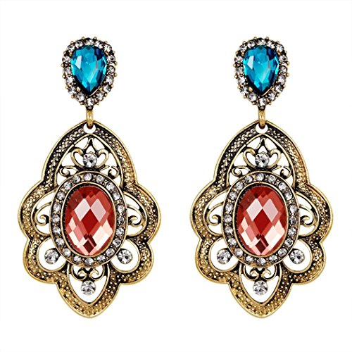 Yeefant 1 Pair European and American Style Zircon Diamond Encrusted Love Heart Jewelry Earrings for Girls