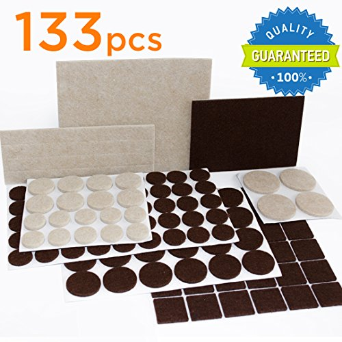 X-PROTECTOR Premium TWO COLORS Pack Furniture Pads 133 piece! Felt Pads Furniture Feet Brown 106 + Beige 27 of various sizes - BEST wood floor protectors. Protect Your Hardwood & Laminate Flooring
