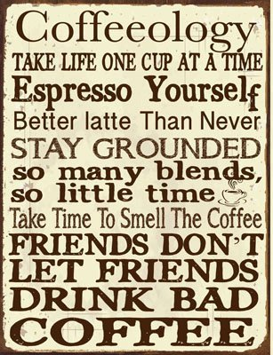 Coffeeology Metal Sign Coffee Lovers Kitchen Decor Cafe Decor