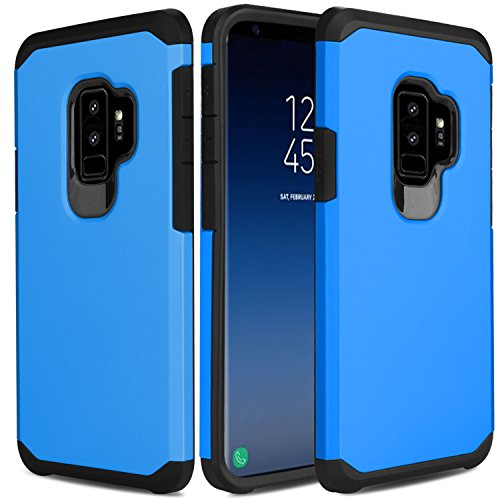 Cheap USHAWN Galaxy S9 Plus Case, Shockproof Anti Scratch Hybrid Defender Armor Full Body Protective Phone Case Cover for Samsung Galaxy S9 Plus / SM-G965F / SM-G965U (Blue)