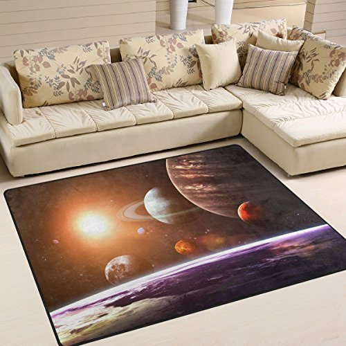 La Random Solar System and Space Objects Modern Area Rug Decorative Shaggy Rugs 80x58 Inches, Non-Skid Lightweight Rugs for Living Room Bedroom Floor Carpet Door Mats Home Decor by La Random