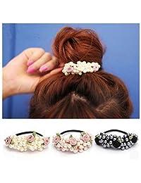 Lovef Girl Women Pearl Flower Leaves Hair Accessories Elastic Ties Hair Rope Fashion Hair Headband Ponytail Holders Hair Tie,3Pcs
