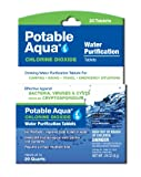 Potable Aqua Chlorine Dioxide Water Purification Tablets - Portable Drinking Water Treatment for Camping, Emergency Preparedness, Hurricanes, Storms, Survival, and Travel (20 Tablets)