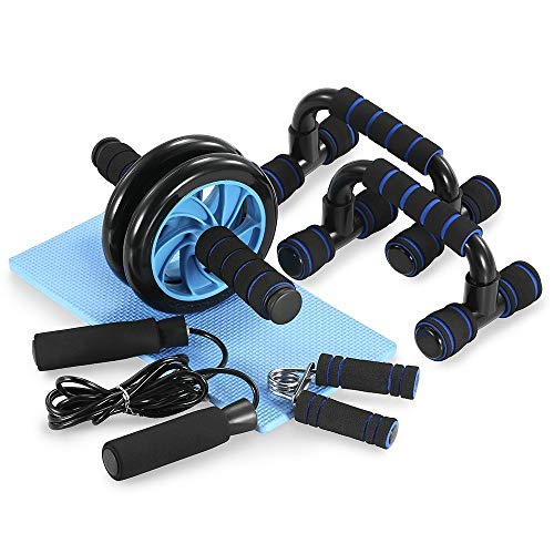 TOMSHOO 5-in-1 AB Wheel Roller Kit with Push-Up Bar Jump Rope Hand Gripper and Knee Pad for Gym Home Workout ()