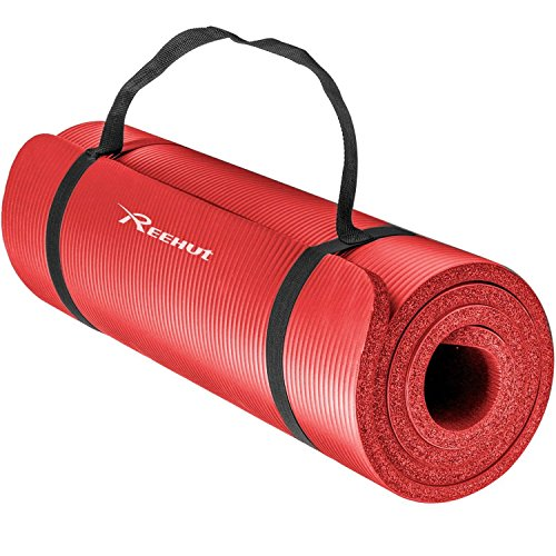 Reehut 1/2-Inch Extra Thick High Density NBR Exercise Yoga Mat for Pilates, Fitness & Workout w/ Carrying Strap (Red) (Go Roller Travel)