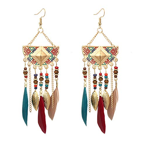 LODDD Women Bohemian Earrings 2019 New Fan-shaped Beaded Tassel Feather Earrings