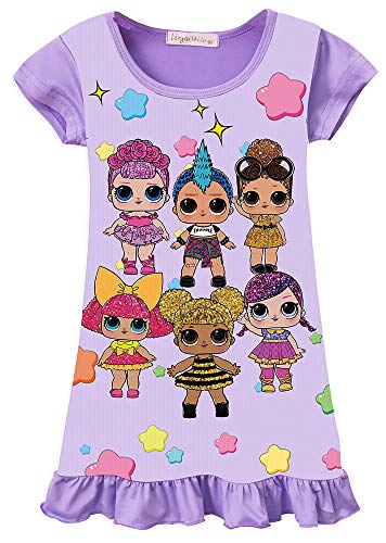 WNQY Surprise Princess Pajamas Girls Nightgown Dress for Doll Surprised (Purple,150/7-8Y) (Baby Doll Nightgown For Girls)