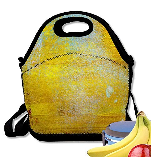 Ice Cracked Gold Sets (LPoxsmovw Neoprene Lunch Bag Tote Reusable Insulated Waterproof School Picnic Printed Gold with Cracked Varnish Surface)