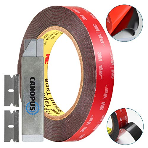 3M VHB Tape Double Sided - 5952 Heavy Duty Mounting Adhesive Tape Converted from 3M VHB, (0,75 in x 15 ft) with Box Cutter (1PC) and Razor Replacement (2PCs)