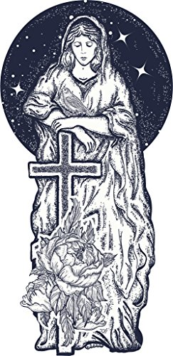 Divine Designs Pretty Tattoo Style Mother Virgin Mary Dot Art Vinyl Decal Sticker (12