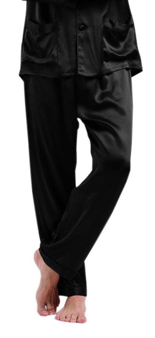 LilySilk Men's Mulberry Silk Pajama Bottoms Long Pants 22 Momme 100 Pure Silk Black Size 48/XXXL