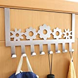 Stainless Steel Over Door Hooks Home Kitchen Cupboard Cabinet Towel Coat Hat Bag Clothes Hanger Holder Organizer Rack (8PCS)Suitable for the thickness door