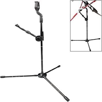 Archery Recurve Black Bow Stand Portable Foldable Aluminum Alloy Bowstand Compound Bow Rack Metal Construction