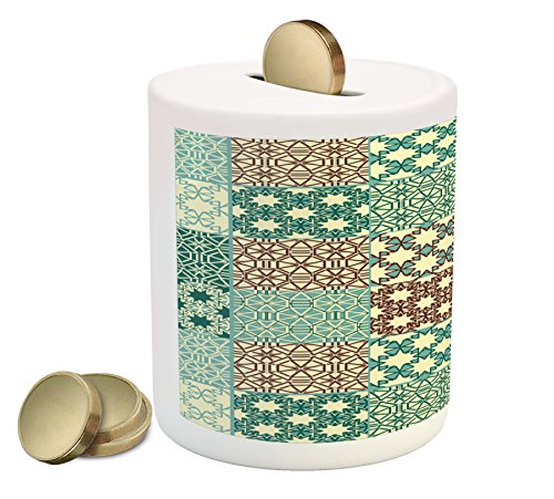 Lunarable Moroccan Piggy Bank, Different Classic Patterns Tracery Ornamental Patchwork Floral Design Art, Printed Ceramic Coin Bank Money Box for Cash Saving, Teal Brown Cream