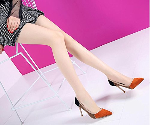 Shallow Color Fine High Thin HGTYU Pointed All With Suede New Shoes Mouth Heeled Shoes Thirty Shoes And eight Match 1qzzOdwf