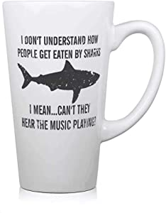 Why Do People Get Eaten By Sharks - Hear The Music White Ceramic 17oz Funny Coffee Mug Unique Ceramic Novelty Holiday Gift Tea Mugs Milk Mug