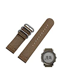 Welcomeuni FASHION 24MM Nylon Replacement Watch Wrist Band 3 Ring Lugs For Suunto Core (BW)