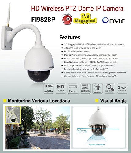 Foscam FI9828P V2 - Cámara IP Wi-Fi HD de exterior, motorizada PTZ con zoom óptico 3x y enfoque automático, Visión nocturna 20m, Micro SD Card, ONVIF, ...