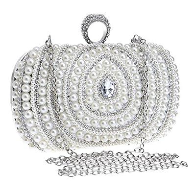 EPLAZA Women Rhinestone Beaded One Ring Evening Clutch Bags Handbags Bridal Wedding Party Purse