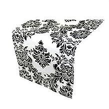 LA Linen™ 12x108-Inch Damask Flocking Taffeta Table Runner, White and Black. Made In USA.