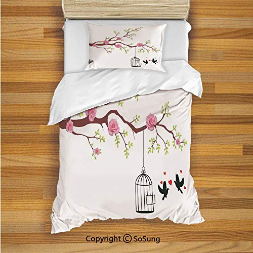 Flying Birds Decor Kids Duvet Cover Set Twin Size, Blossomed Roses and Flying Love Birds with Hearts and Cage Couple Decorative 2 Piece Bedding Set with 1 Pillow Sham,Pink Brown White