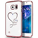 Galaxy S6 Edge Plus Case,ikasus Mini Love Heart Glitter Bling Crystal Rhinestone Diamonds Clear Rubber Rose Electroplate Plating Frame TPU Soft Silicone Bumper Case Cover for Galaxy S6 Edge Plus