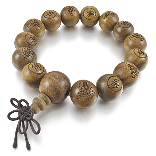 INBLUE Men,Women's 14mm Wood Bracelet Link Wrist Tibetan Buddhist Green Sandalwood Bead Prayer Buddha Mala Chinese knot Elastic