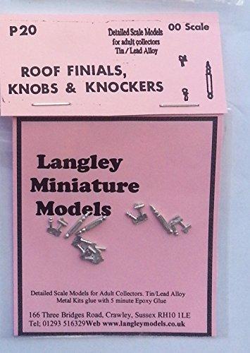 Langley Models 3 roof Finials, 6 door knobs knockers OO Scale UNPAINTED Part P20