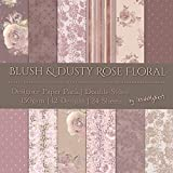 Blush Dusty Rose Designer Paper Set Art Craft Scrapbook Journal Origami Paper Baby Girl Shower Wedding Party Decorations (21x21cm / 8x8 inches) (Pack of 24 Sheets)