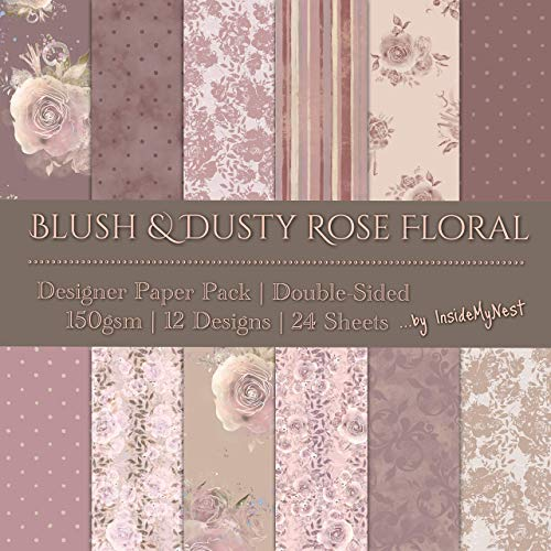 Blush Dusty Rose Designer Paper Set Art Craft Scrapbook Journal Origami Paper Baby Girl Shower Wedding Party Decorations (21x21cm / 8x8 inches) (Pack of 24 Sheets) from Inside My Nest