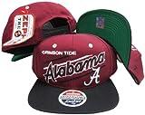 Alabama Crimson Tide Diagonal Script Maroon/Black Two Tone Snapback Adjustable Plastic Snap Back Hat / Cap