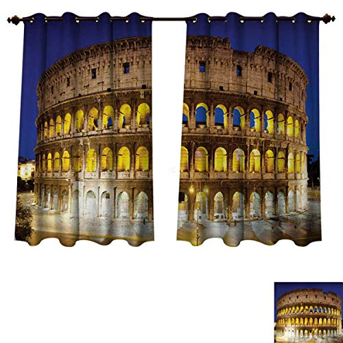 - Anzhouqux The Colosseum Blackout Thermal Curtain Panel Historic Imperial Roman Architecture European Culture Symbol Patterned Drape for Glass Door Royal Blue Yellow Brown W63 x L72 inch