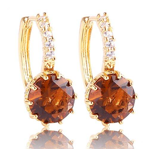 O&W Korean Fashion Womens Earing 24k Yellow Gold Plated Hoop Earrings Smoky Zirconia Stone Boucles D'oreilles De Femmes - 24k Smoky Earrings