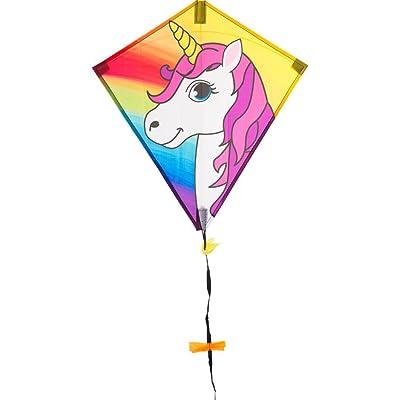 EcoLine 102101 Eddy Unicorn Children's Kite 50 cm Multi-Coloured: Toys & Games