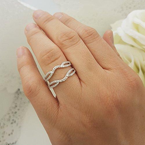 Dazzlingrock Collection 0.35 Carat (ctw) 10K White Diamond Wedding Band Enhancer Guard Double Ring 1/3 CT, White Gold, Size 6.5 by Dazzlingrock Collection (Image #7)