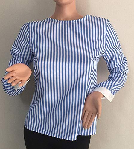 T Longues Tops Femmes Casual Blouse Fashion Printemps et Chemisier Automne Bandage Hauts Dos Tees Shirts JackenLOVE Nu Bleu Manches Raye FnRTOWF