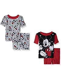 Toddler Boys' Mickey Mouse 4-Piece Cotton Pajama Set, Stained Out Red