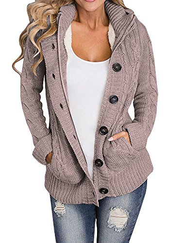 Enjoybuy Womens Cable Knit Cardigan Hooded Sweater Buttons Open Front Outerwear (XX-Large, Coffe) -